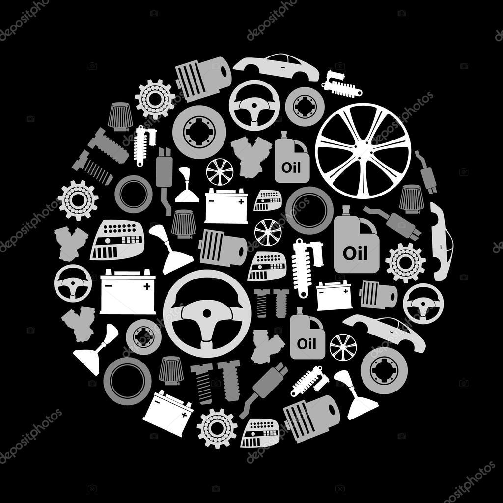 Autoteile speichern einfache Graustufen-Symbole im Kreis eps10 ...
