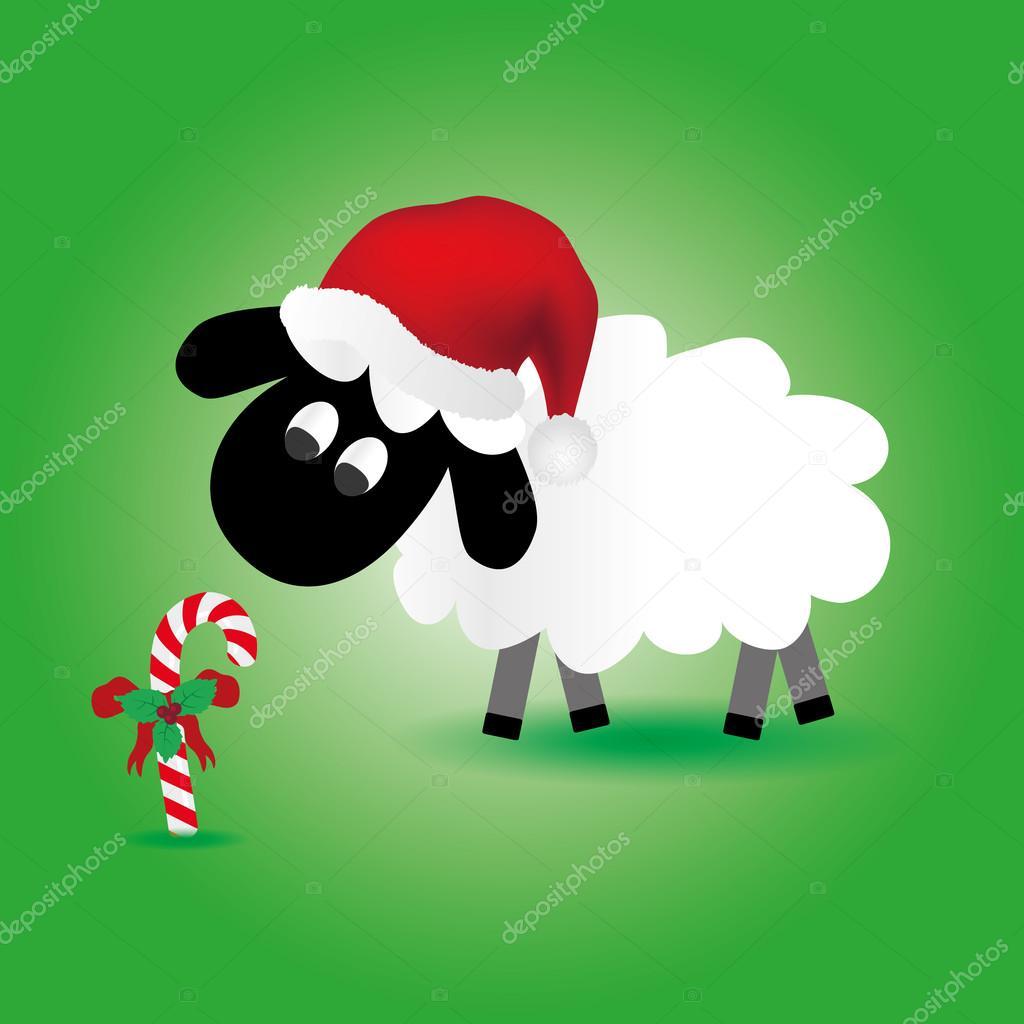 Weihnachten-Schafe mit Süßigkeiten Stick und Santa Hut eps10 ...