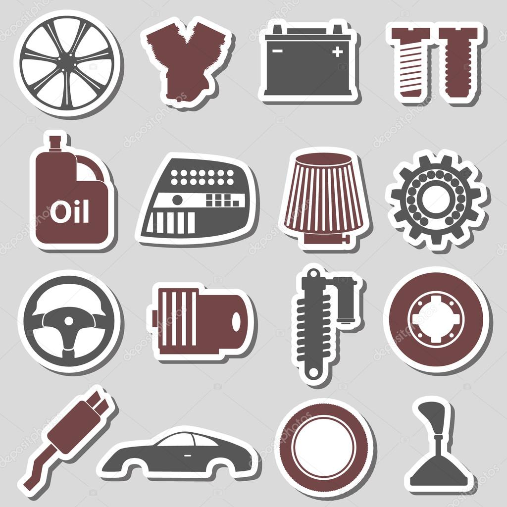 car parts store simple stickers set eps10 — Stock Vector © martin951 ...