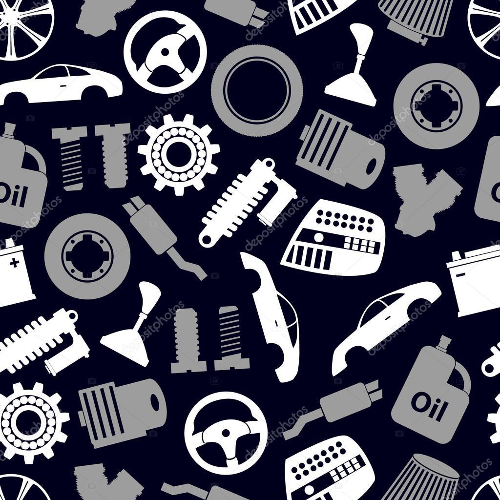 Autoteile speichern einfache Symbole nahtlose dunkle Muster eps10 ...