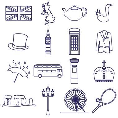 United Kingdom country theme outline icons set eps10