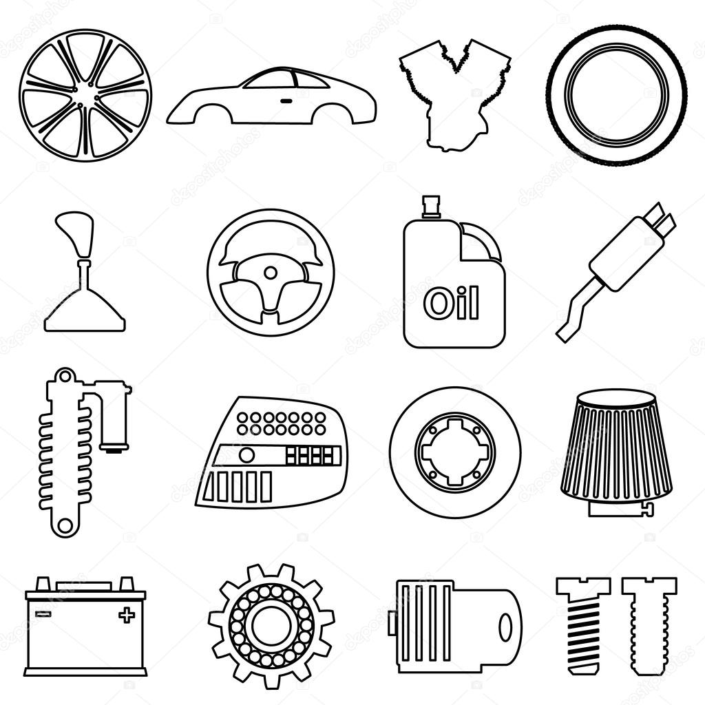 car parts store simple black outline icons set eps10 — Stock Vector ...