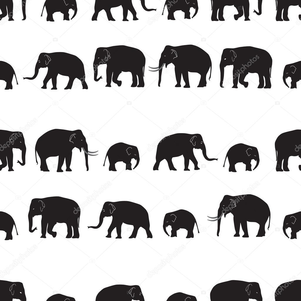 Vector negro elefantes caminando de patrones sin fisuras eps10 ...