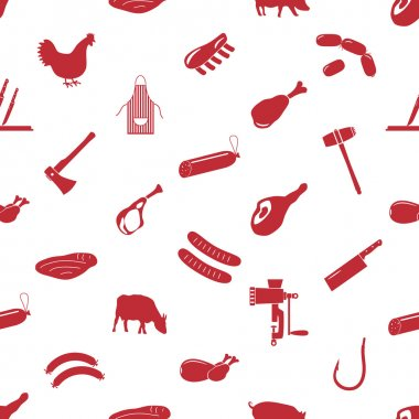 butcher and meat shop icons seamless pattern eps10