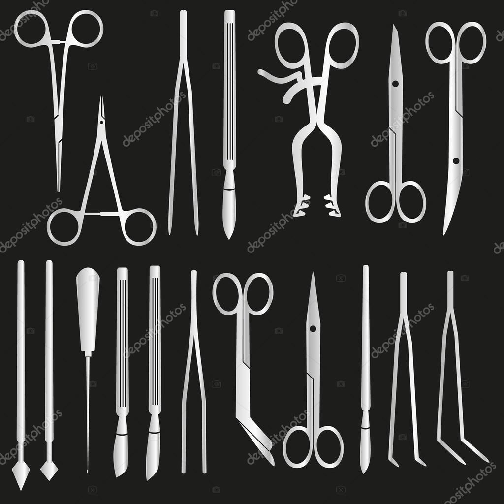 silver surgical istruments and tools for surgery eps10
