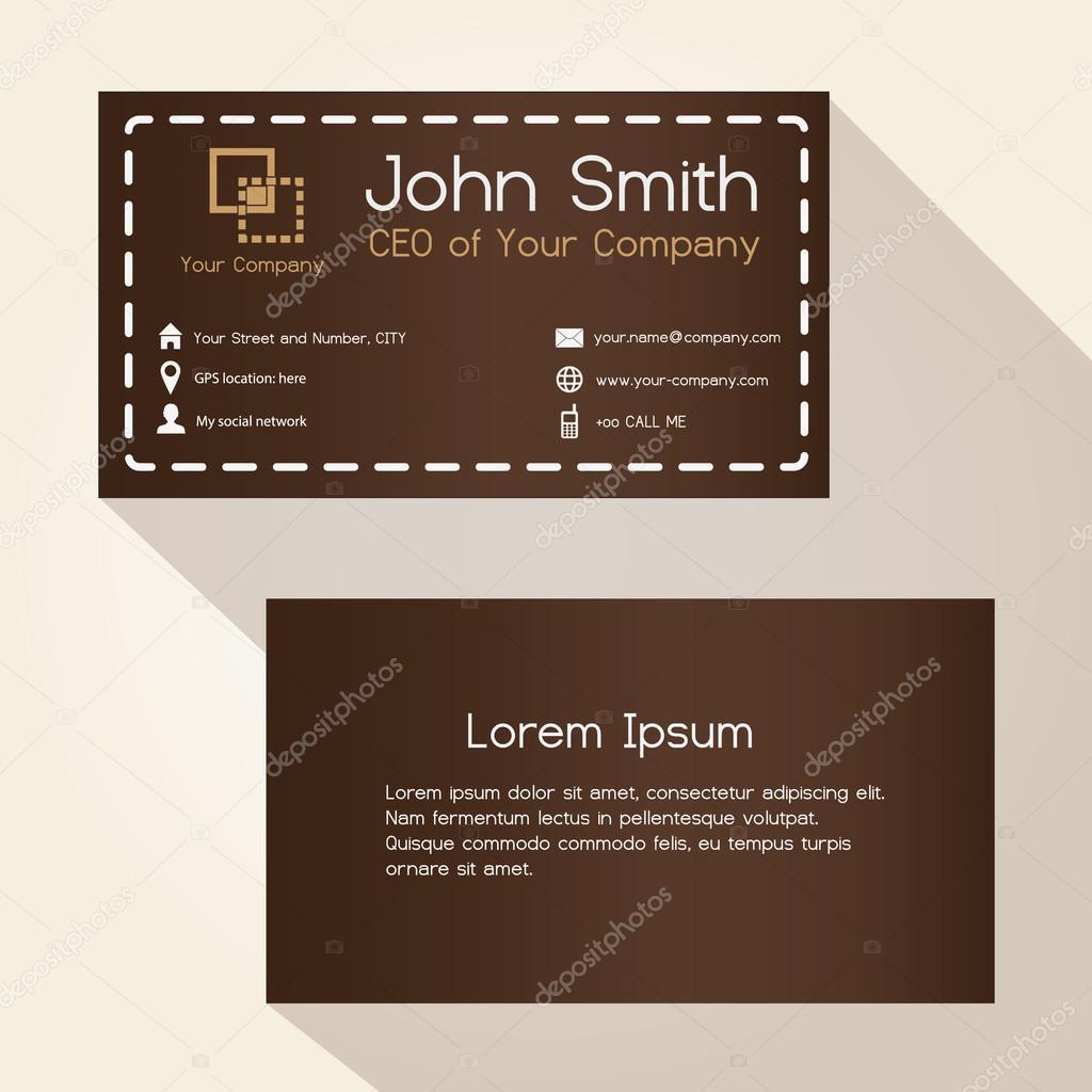 Simple Brun Cousu Comme Style Carte De Visite Design Eps10 Image Vectorielle