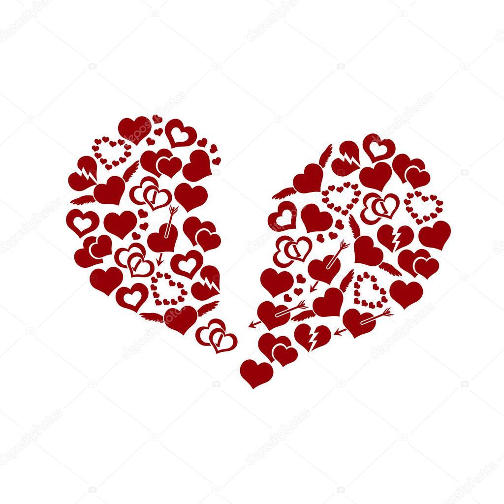 Red valentine broken hearth love symbols in big hearth shape eps10 red valentine broken hearth love symbols in big hearth shape eps10 stock vector buycottarizona Gallery