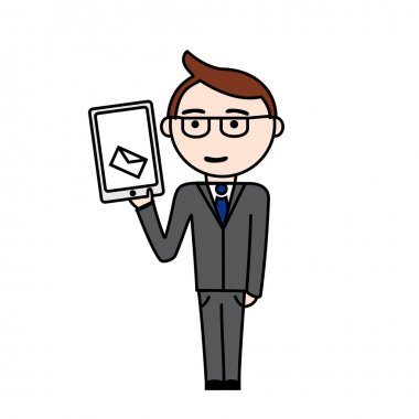 Manager in suit with message on tablet