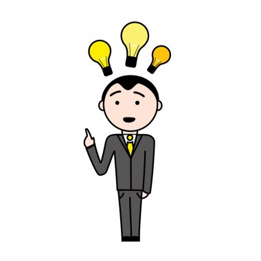Business man in suit with a new idea