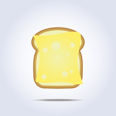 White bread toast icon with cheese