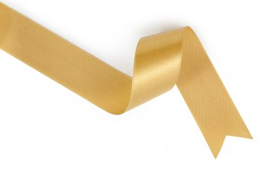 Gold ribbon nicely uncurled isolated on pure white