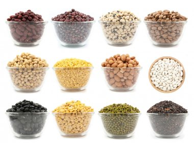 collection of legumes in the cup isolated