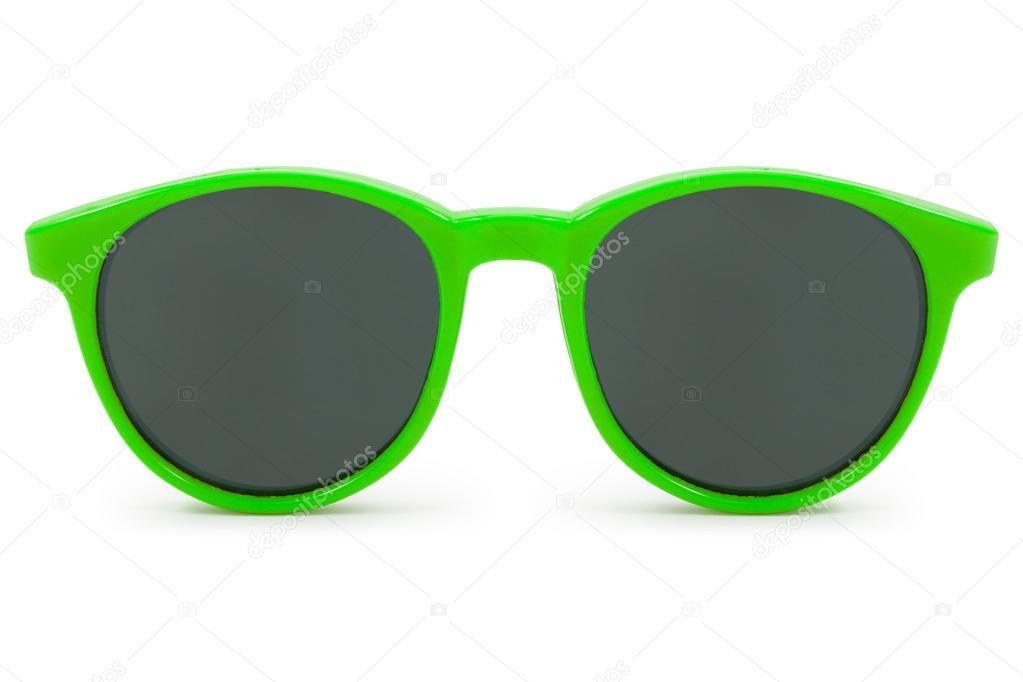 fotos oficiales 996cf 1e641 Gafas de sol verdes sobre fondo blanco — Foto de stock ...