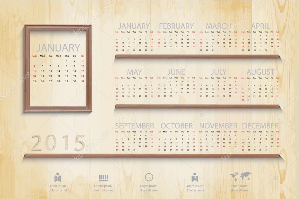 Einfacher Kalender auf Bild Holzrahmen Hintergrund und ic ...