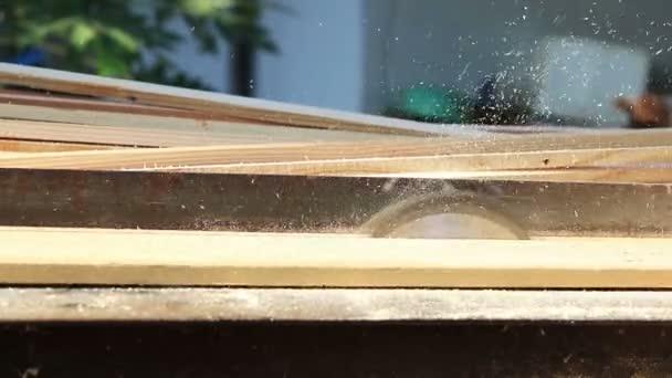 Tesař použití kruhové elektrickou pilu řezání dřeva v dílně.