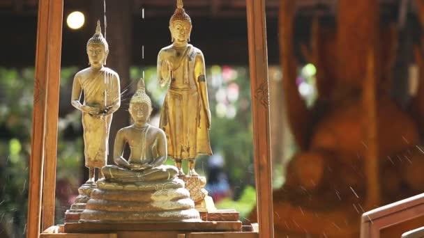 Socha Buddhy, kapka vody, chrámovými pozadí.