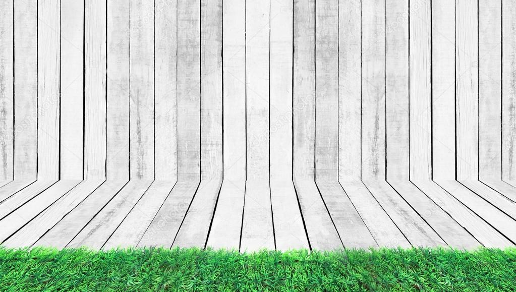 녹색 잔디, 흰색 바닥 및 벽 나무 패턴 배경 — 스톡 사진 © koko ...