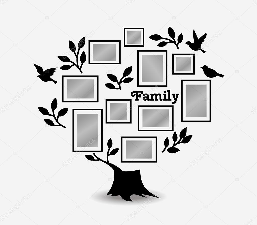 Árbol de recuerdos con los marcos — Vector de stock © Liubou #116150470