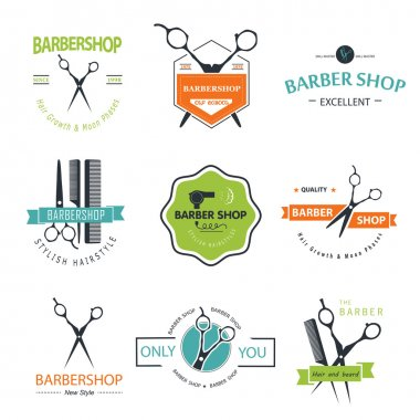 Vector set of retro barber shop labels, logo, badges and design element. clip art vector