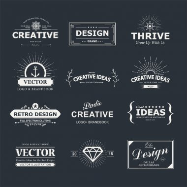 Vintage vector design elements. Retro style typography labels, tags, badges, stamps, arrows and emblems set stock vector