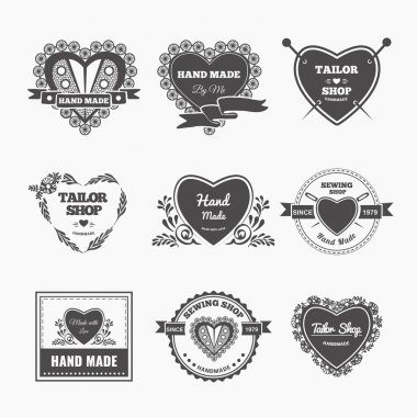 Vector set of stylish hand made logo. Illustration of vintage style sewing and tailor label stock vector