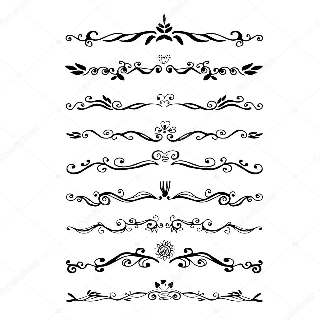 Retro style set of ornate floral patterns template