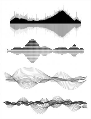 Vector music sound waves set. Audio digital equalizer technology, console panel, pulse musical stock vector