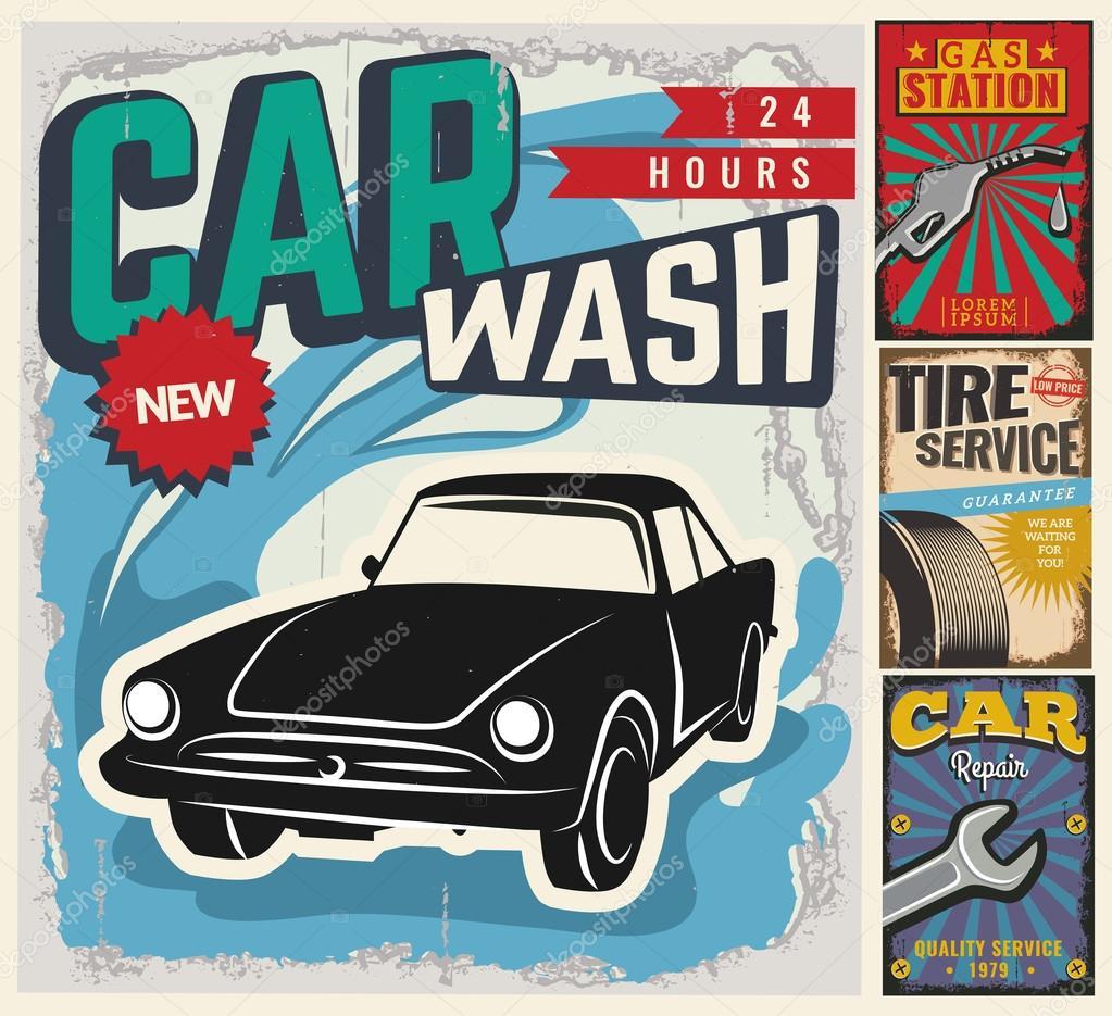Conjunto vintage de coches vectoriales para publicidad — Archivo ...
