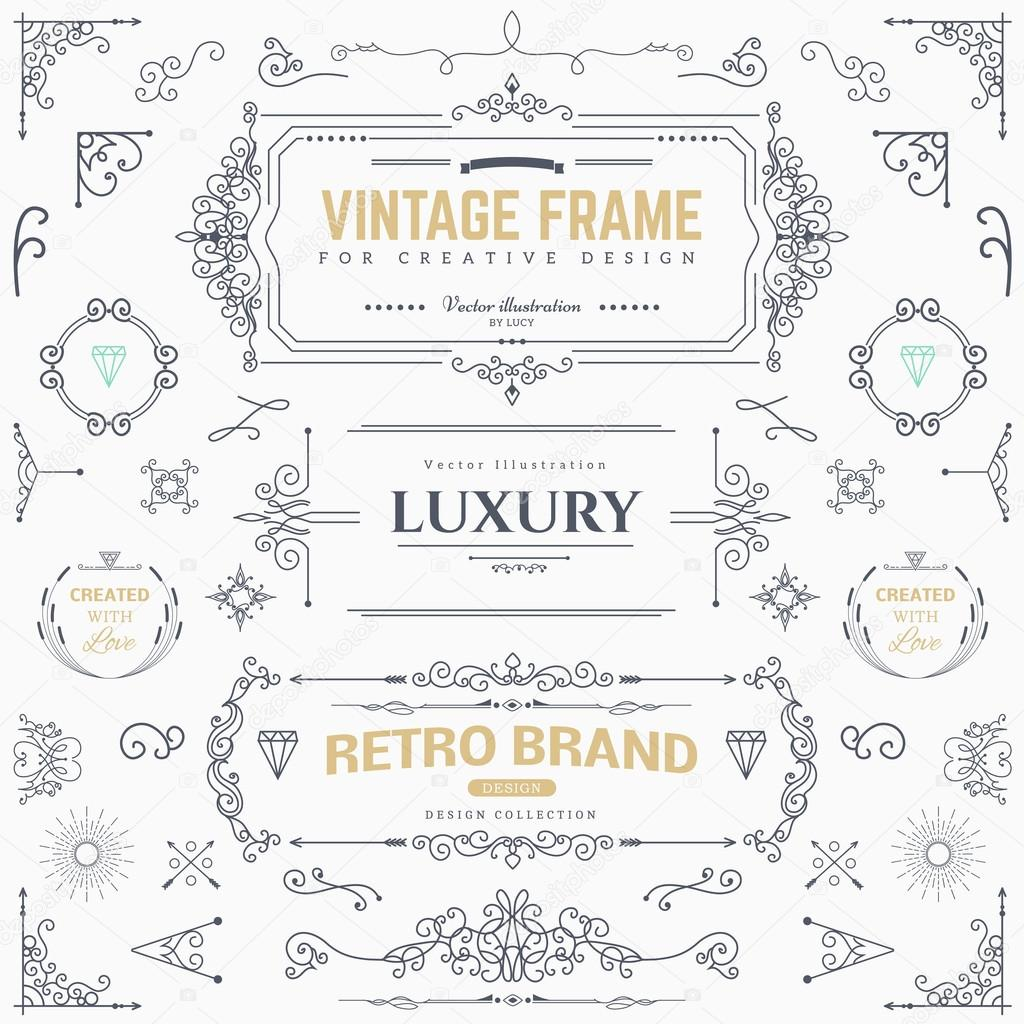 Collection of vintage vector patterns.