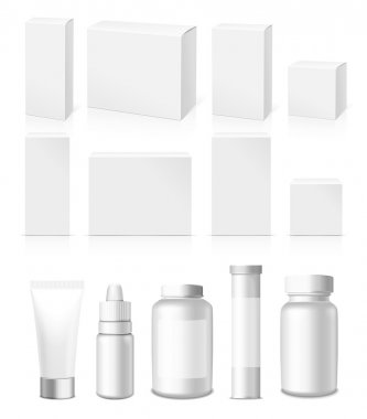 Realistic vector Tubes, Jar And Package.