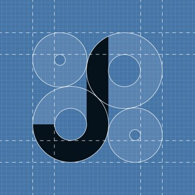 Round engineering font. Symbol J