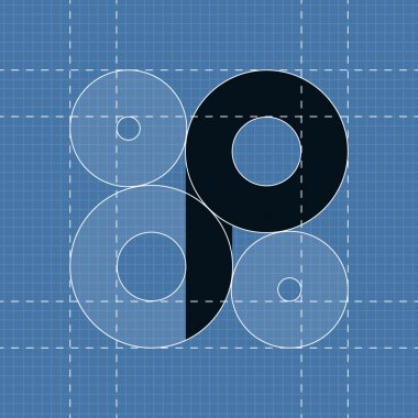 Round engineering font. Symbol P