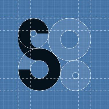 Round engineering font. Symbol S