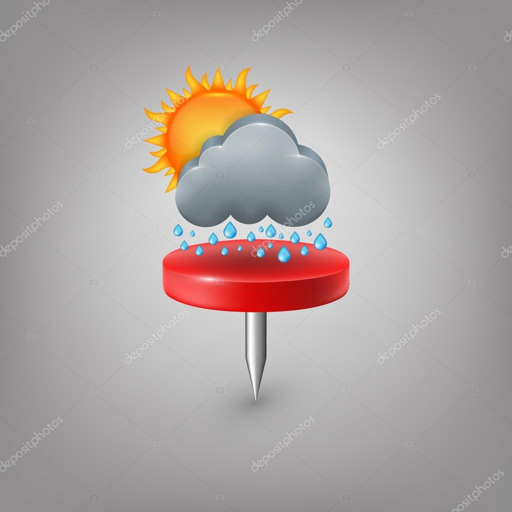 Red pin icon weather. Cloud sun rain