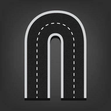 N letter. Road font