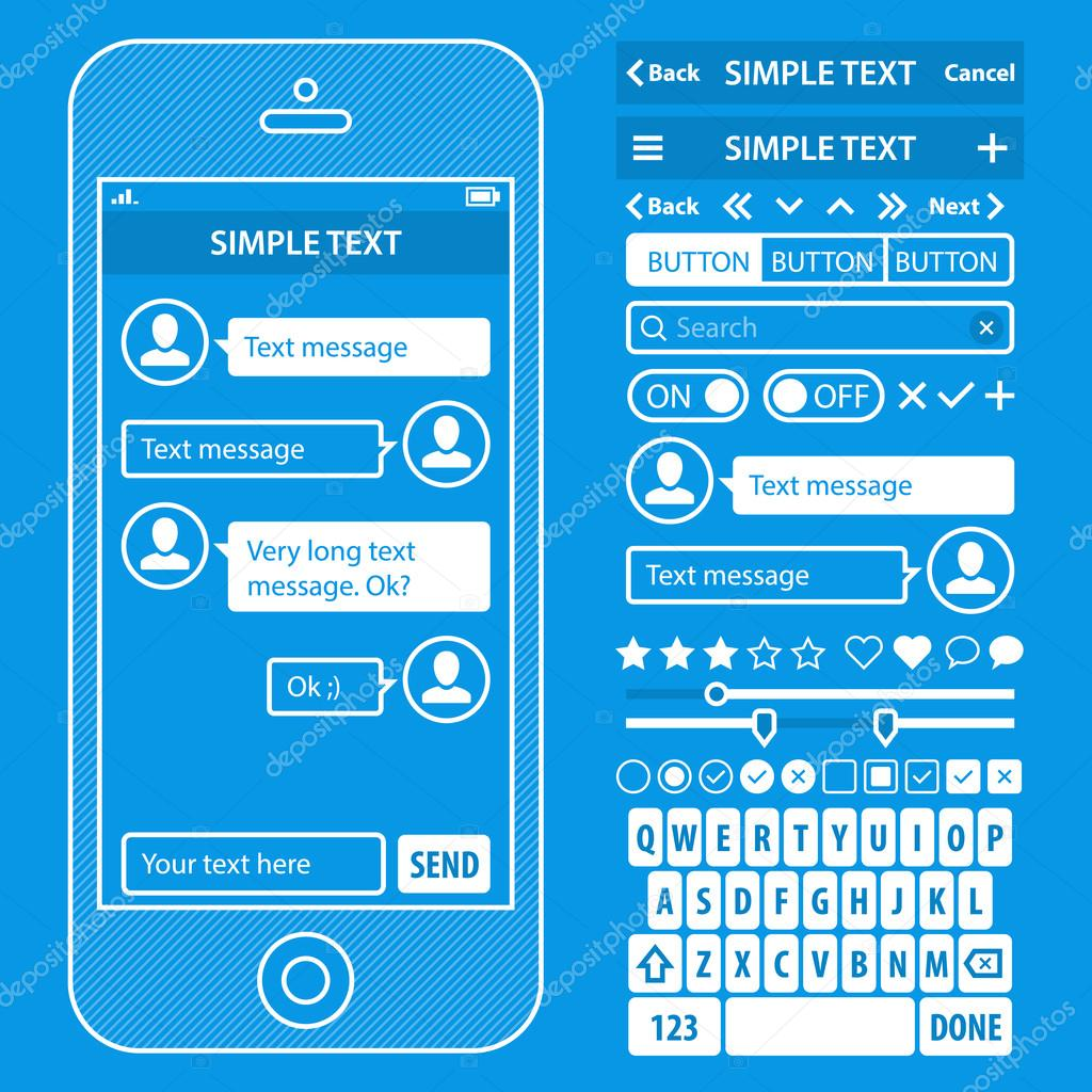 Interfaz de usuario elementos blueprint diseo vector kit moda color ui elements blueprint design vector kit in trendy color with simple mobile phone buttons forms windows and other interface elements malvernweather