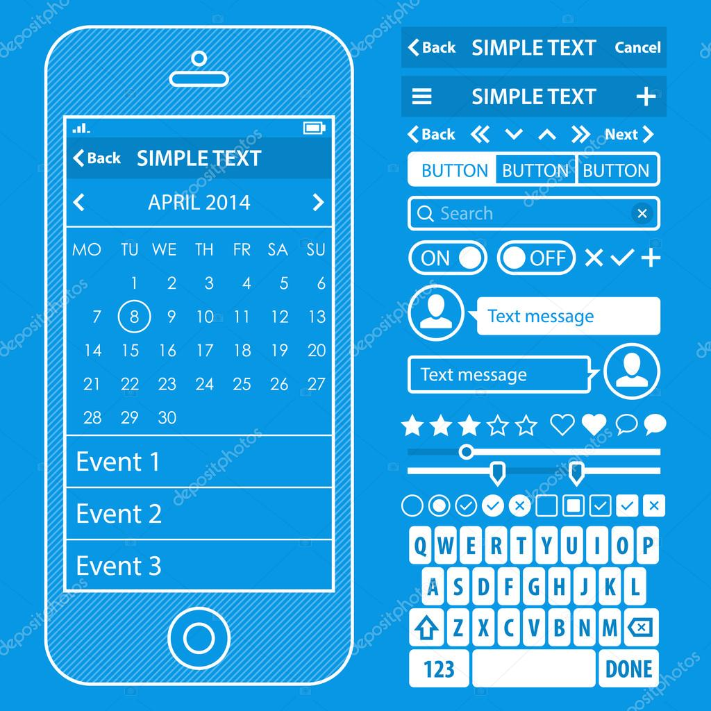 Interfaz de usuario elementos blueprint diseo vector kit moda color ui elements blueprint design vector kit in trendy color with simple mobile phone buttons forms windows and other interface elements calendar screens malvernweather Choice Image