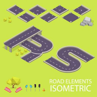 Road elements isometric. Road font. Letters R and S