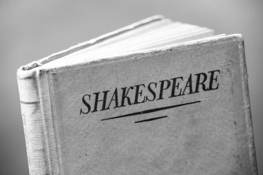 A black and white cover of a book by Shakespeare
