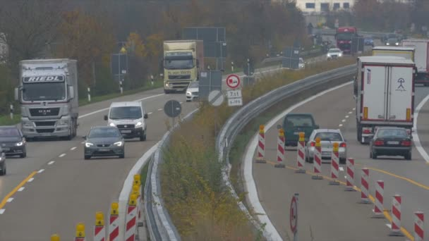 Traffic on german Autobahn, Cars and Trucks