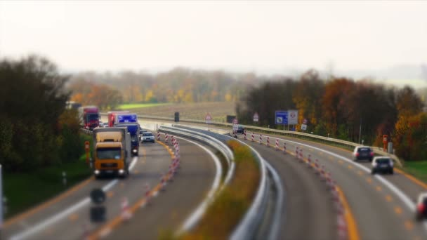 Traffic on german Autobahn, Cars and Trucks