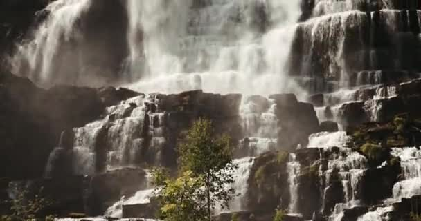 4K Tilt along the gigantic Tvindefossen waterfall, Norway