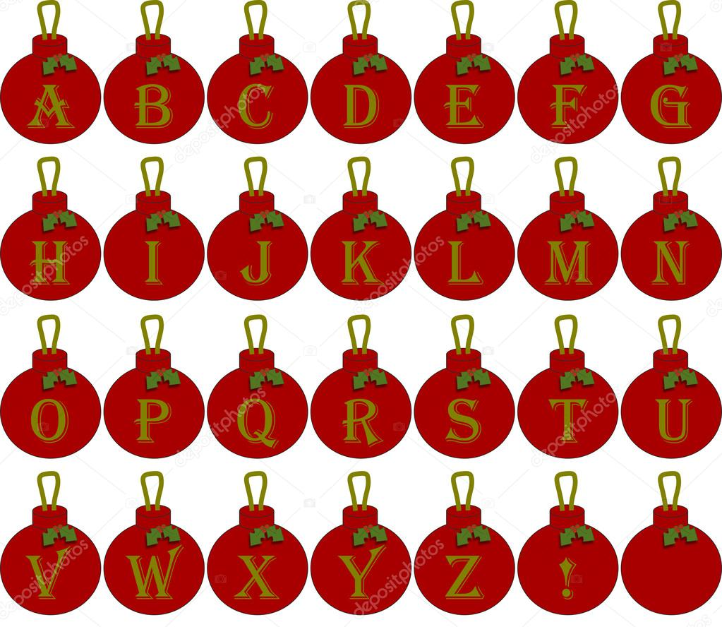 Alfabeto natal enfeites em vermelho com o texto de ouro - Alphabet noel ...