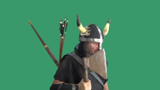 Portrét agresivního staršího Vikinga v helmě s rohy, pokrytý dřevěným štítem a hrozící sekerou. Muž na zeleném pozadí