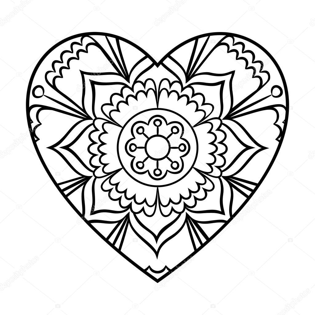 Doodle Herz Mandala — Stockvektor © paketesama #119061366
