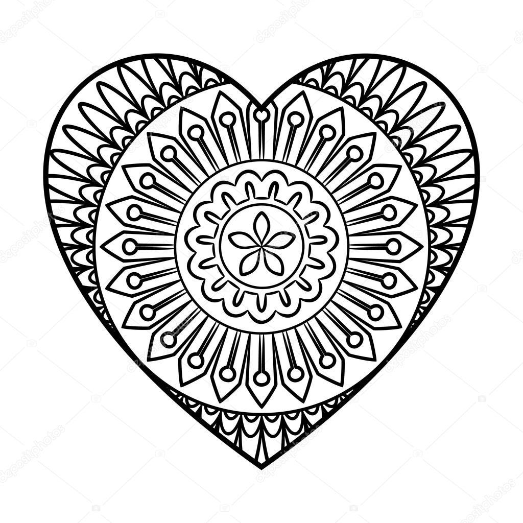 Mandala de coeur de Doodle — Image vectorielle paketesama © #119061396