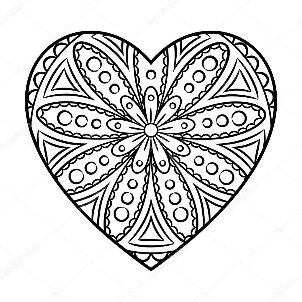 Mandala del corazón de Doodle — Vector de stock © paketesama #121937130