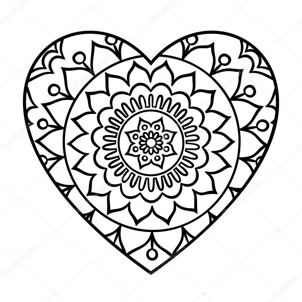 Mandala del corazón de Doodle — Archivo Imágenes Vectoriales ...