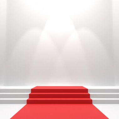 Red carpet on stairs. Empty white illuminated podium. Blank template illustration with space for an object, person, logo, text. Presentation, gala, ceremony, awards concept stock vector