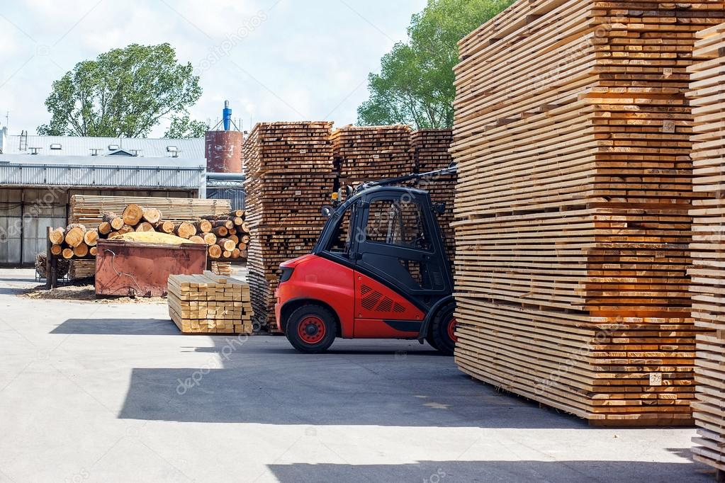 Forklift truck in lumber industry